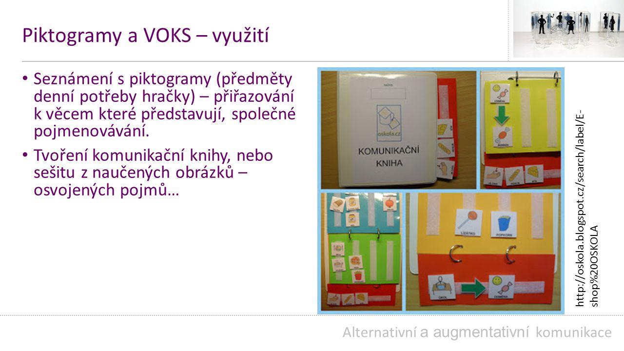 Piktogramy a VOKS – využití Seznámení s piktogramy (předměty denní potřeby hračky) – přiřazování k věcem které představují, společné pojmenovávání.
