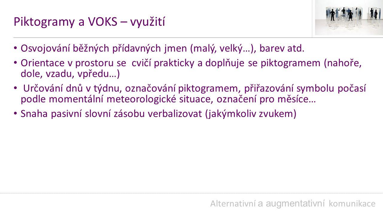 Piktogramy a VOKS – využití Osvojování běžných přídavných jmen (malý, velký…), barev atd.