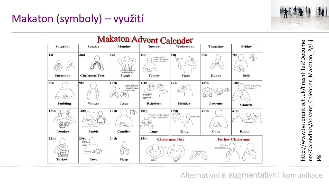 Makaton (symboly) – využití Alternativní a augmentativní komunikace http://www.tvs.brent.sch.uk/FreshFiles/Docume nts/Calendars/Advent_Calender_Makaton_Pg1.j pg