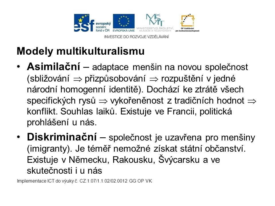 Modely multikulturalismu Asimilační – adaptace menšin na novou společnost (sbližování  přizpůsobování  rozpuštění v jedné národní homogenní identitě).