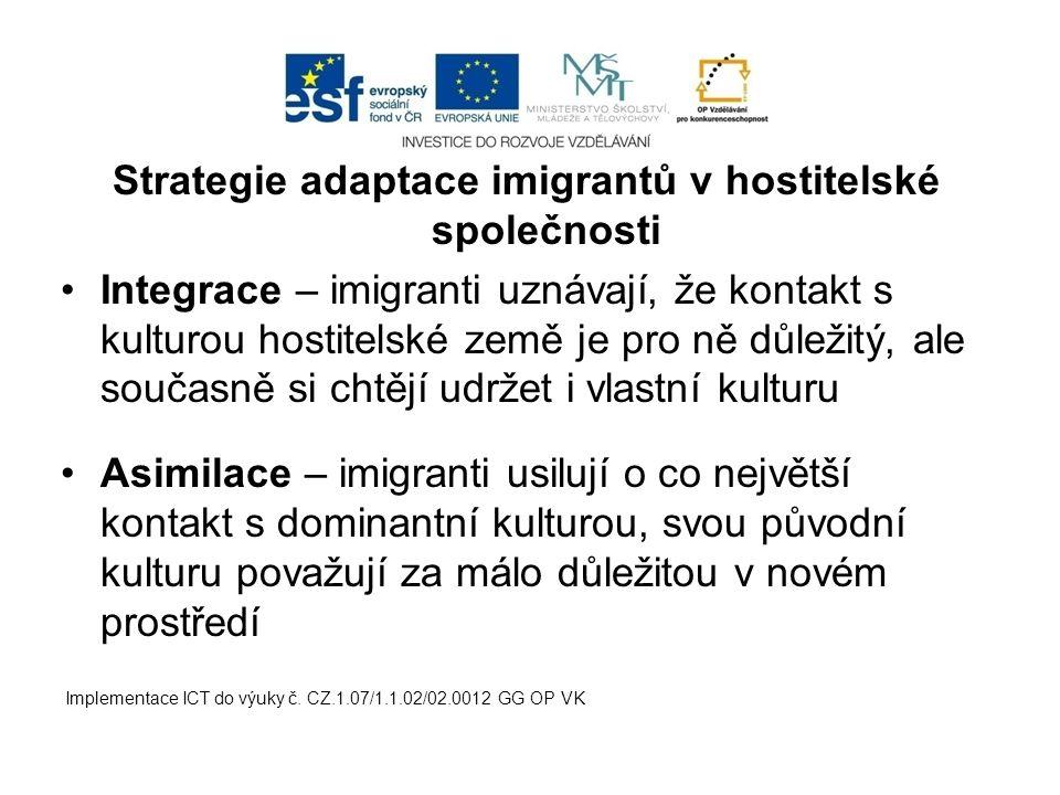 Strategie adaptace imigrantů v hostitelské společnosti Integrace – imigranti uznávají, že kontakt s kulturou hostitelské země je pro ně důležitý, ale současně si chtějí udržet i vlastní kulturu Asimilace – imigranti usilují o co největší kontakt s dominantní kulturou, svou původní kulturu považují za málo důležitou v novém prostředí Implementace ICT do výuky č.