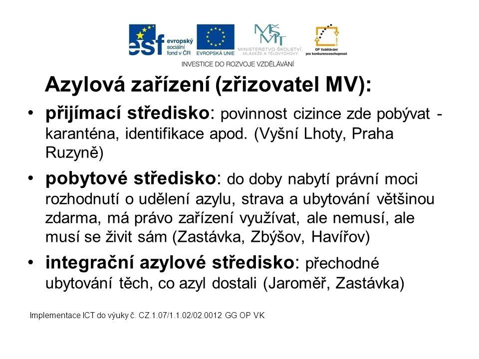 Azylová zařízení (zřizovatel MV): přijímací středisko: povinnost cizince zde pobývat - karanténa, identifikace apod.