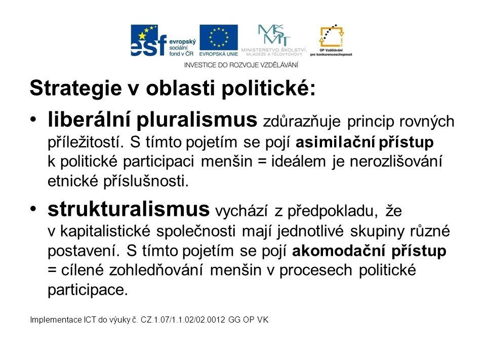 Strategie v oblasti politické: liberální pluralismus zdůrazňuje princip rovných příležitostí.