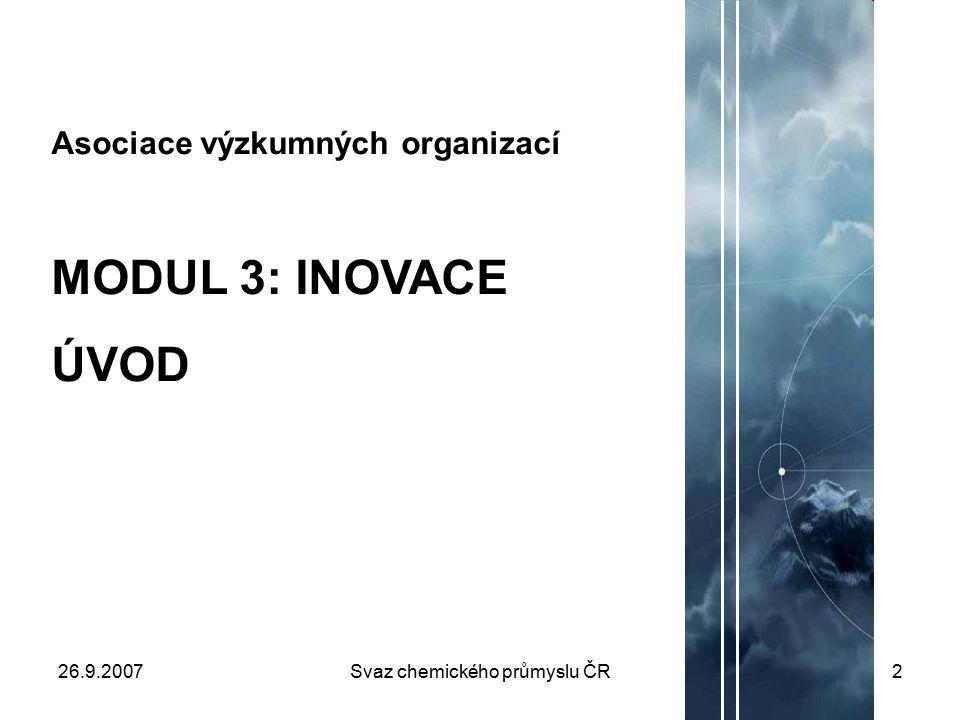 26.9.2007Svaz chemického průmyslu ČR2 Asociace výzkumných organizací MODUL 3: INOVACE ÚVOD