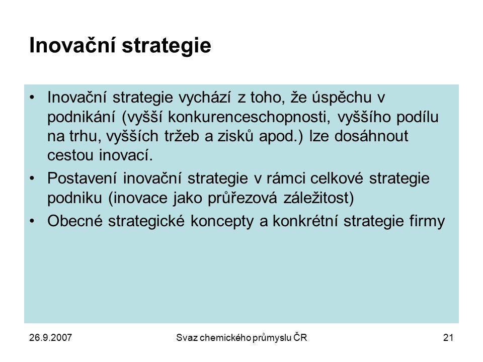 26.9.2007Svaz chemického průmyslu ČR21 Inovační strategie Inovační strategie vychází z toho, že úspěchu v podnikání (vyšší konkurenceschopnosti, vyšší