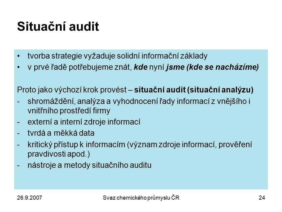 26.9.2007Svaz chemického průmyslu ČR24 Situační audit tvorba strategie vyžaduje solidní informační základy v prvé řadě potřebujeme znát, kde nyní jsme