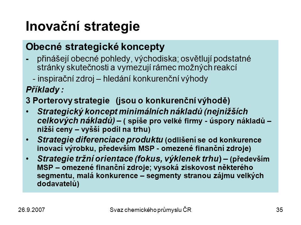 26.9.2007Svaz chemického průmyslu ČR35 Inovační strategie Obecné strategické koncepty - přinášejí obecné pohledy, východiska; osvětlují podstatné strá