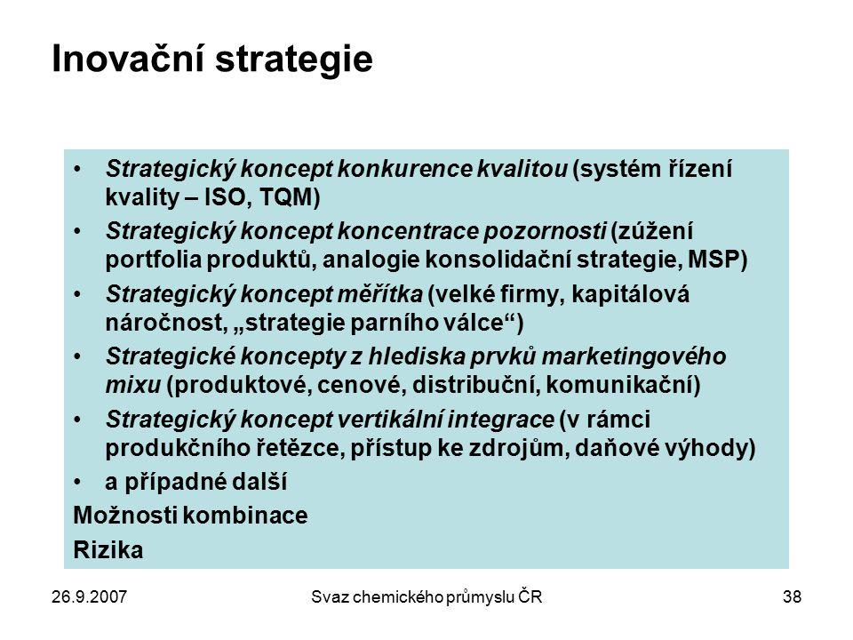 26.9.2007Svaz chemického průmyslu ČR38 Inovační strategie Strategický koncept konkurence kvalitou (systém řízení kvality – ISO, TQM) Strategický konce