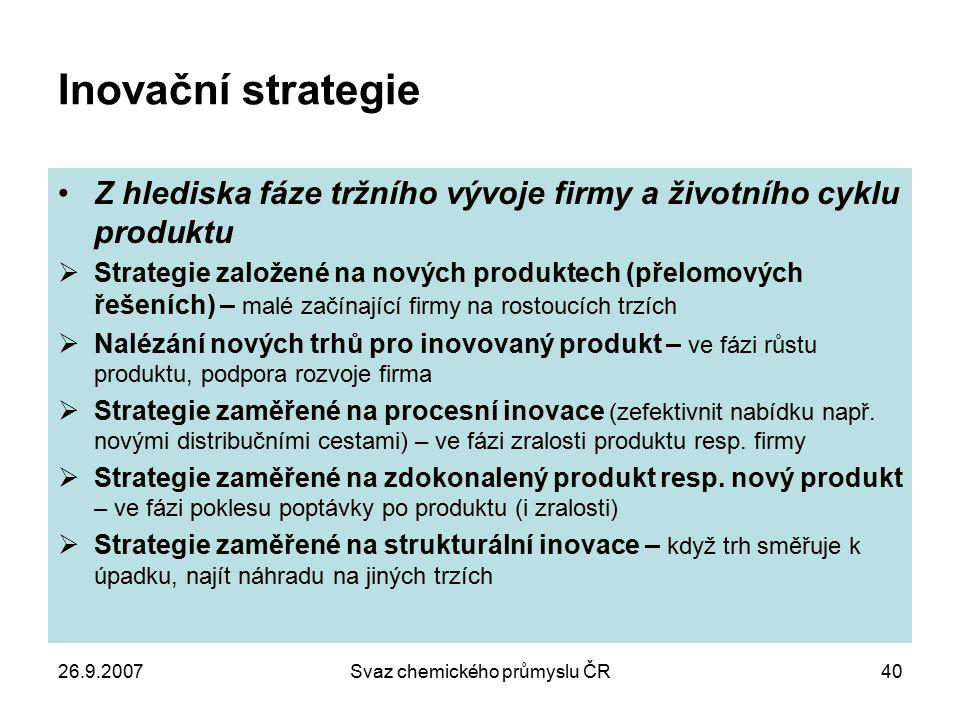 26.9.2007Svaz chemického průmyslu ČR40 Inovační strategie Z hlediska fáze tržního vývoje firmy a životního cyklu produktu  Strategie založené na nový