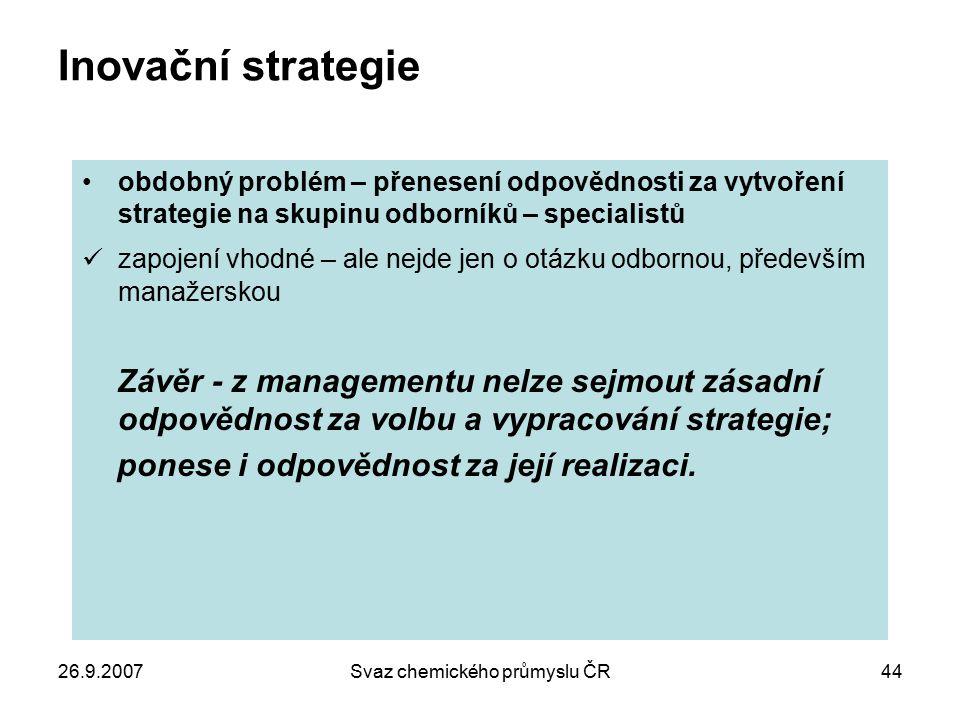 26.9.2007Svaz chemického průmyslu ČR44 Inovační strategie obdobný problém – přenesení odpovědnosti za vytvoření strategie na skupinu odborníků – speci