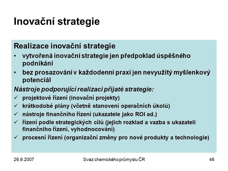 26.9.2007Svaz chemického průmyslu ČR46 Inovační strategie Realizace inovační strategie vytvořená inovační strategie jen předpoklad úspěšného podnikání