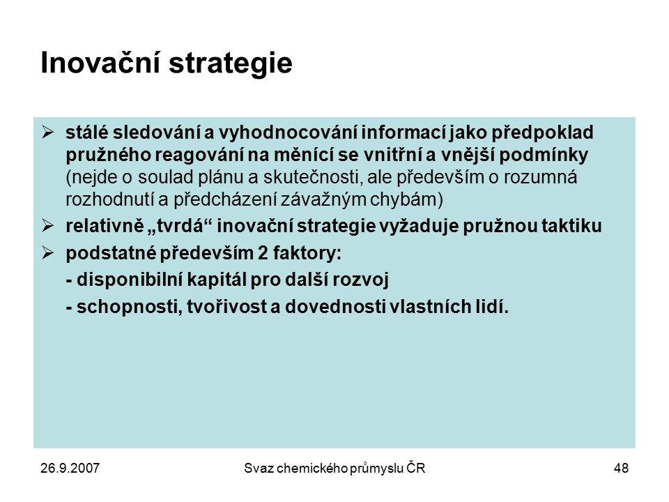 26.9.2007Svaz chemického průmyslu ČR48 Inovační strategie  stálé sledování a vyhodnocování informací jako předpoklad pružného reagování na měnící se