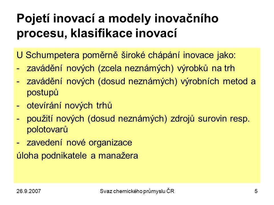 26.9.2007Svaz chemického průmyslu ČR5 Pojetí inovací a modely inovačního procesu, klasifikace inovací U Schumpetera poměrně široké chápání inovace jak