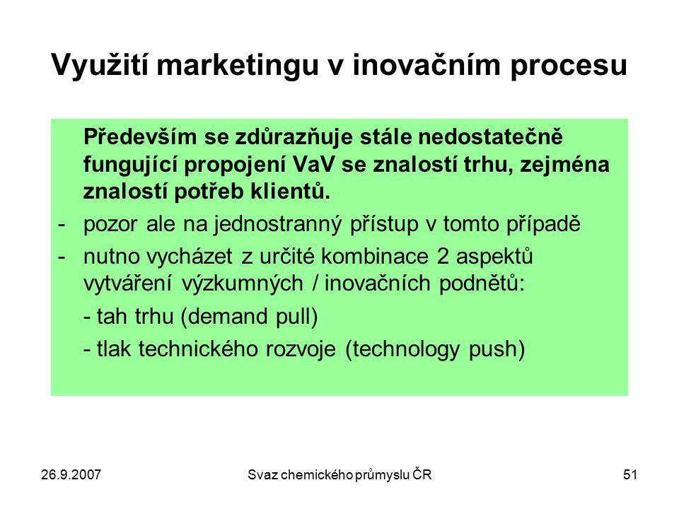 26.9.2007Svaz chemického průmyslu ČR51 Využití marketingu v inovačním procesu Především se zdůrazňuje stále nedostatečně fungující propojení VaV se zn