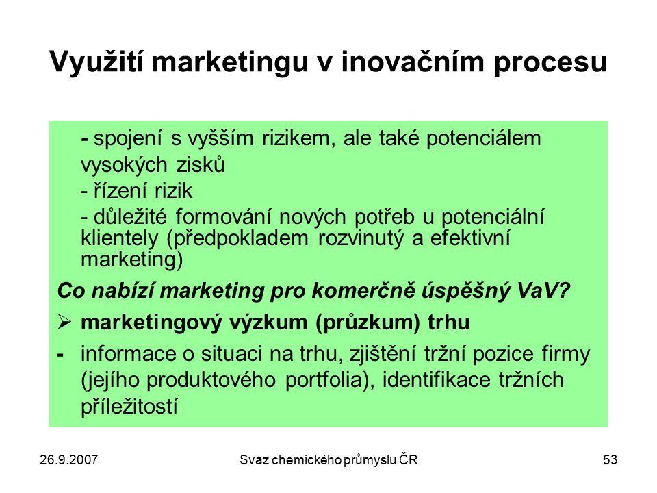 26.9.2007Svaz chemického průmyslu ČR53 Využití marketingu v inovačním procesu - spojení s vyšším rizikem, ale také potenciálem vysokých zisků - řízení