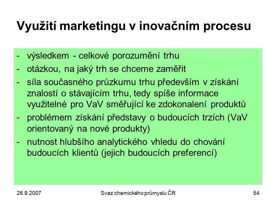 26.9.2007Svaz chemického průmyslu ČR54 Využití marketingu v inovačním procesu -výsledkem - celkové porozumění trhu -otázkou, na jaký trh se chceme zam