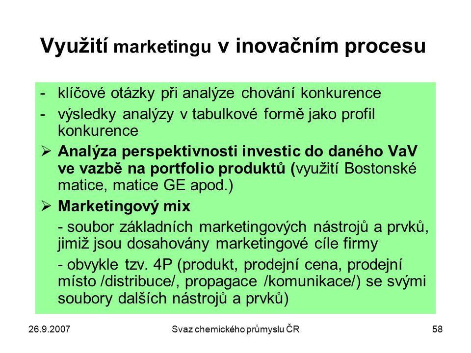 26.9.2007Svaz chemického průmyslu ČR58 Využití marketingu v inovačním procesu -klíčové otázky při analýze chování konkurence -výsledky analýzy v tabul