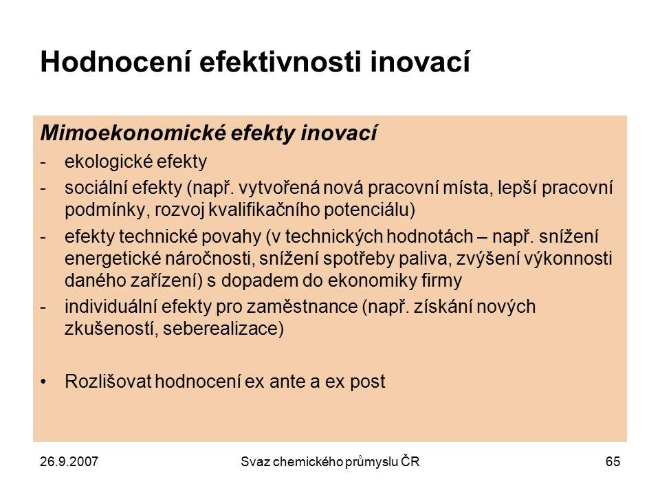 26.9.2007Svaz chemického průmyslu ČR65 Hodnocení efektivnosti inovací Mimoekonomické efekty inovací -ekologické efekty -sociální efekty (např. vytvoře