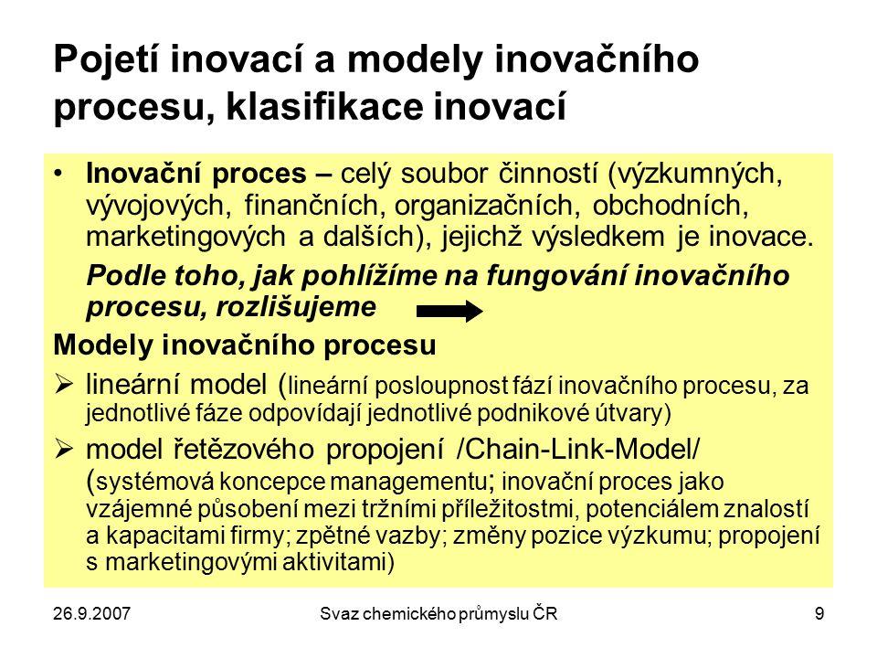 26.9.2007Svaz chemického průmyslu ČR9 Pojetí inovací a modely inovačního procesu, klasifikace inovací Inovační proces – celý soubor činností (výzkumný