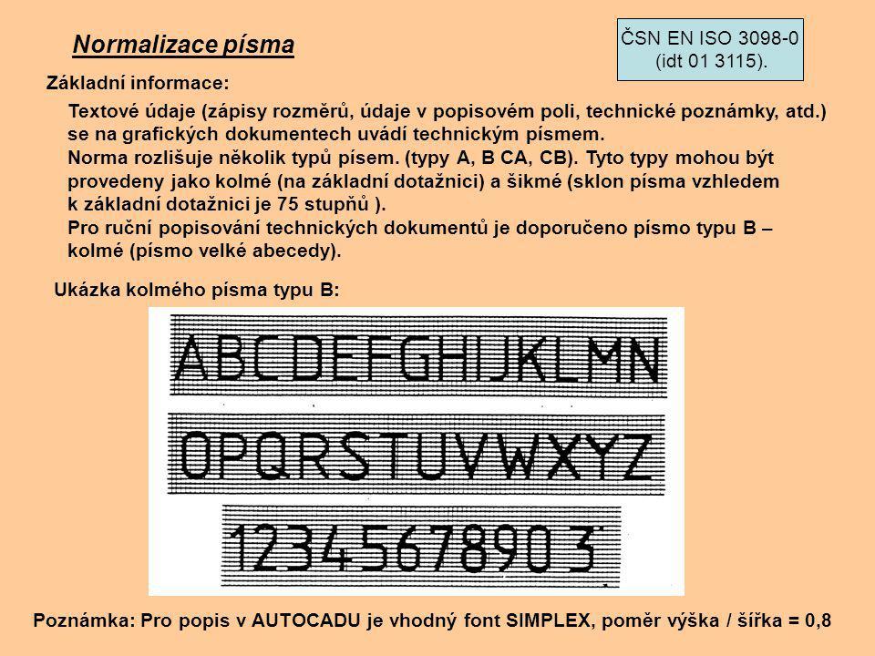Normalizace písma Textové údaje (zápisy rozměrů, údaje v popisovém poli, technické poznámky, atd.) se na grafických dokumentech uvádí technickým písme