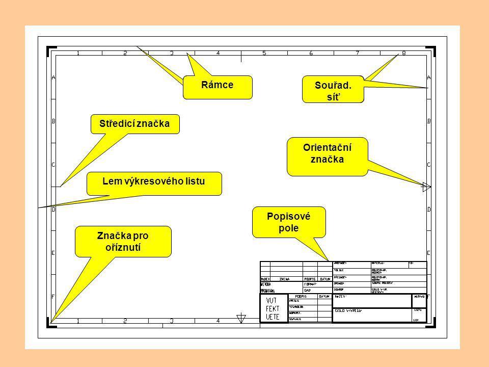 Lem výkresového listu Středicí značka Orientační značka Souřad. síť Popisové pole Značka pro oříznutí Rámce