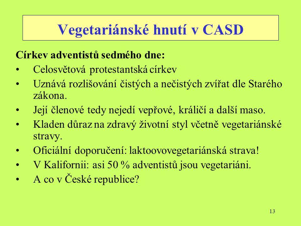 13 Vegetariánské hnutí v CASD Církev adventistů sedmého dne: Celosvětová protestantská církev Uznává rozlišování čistých a nečistých zvířat dle Staréh