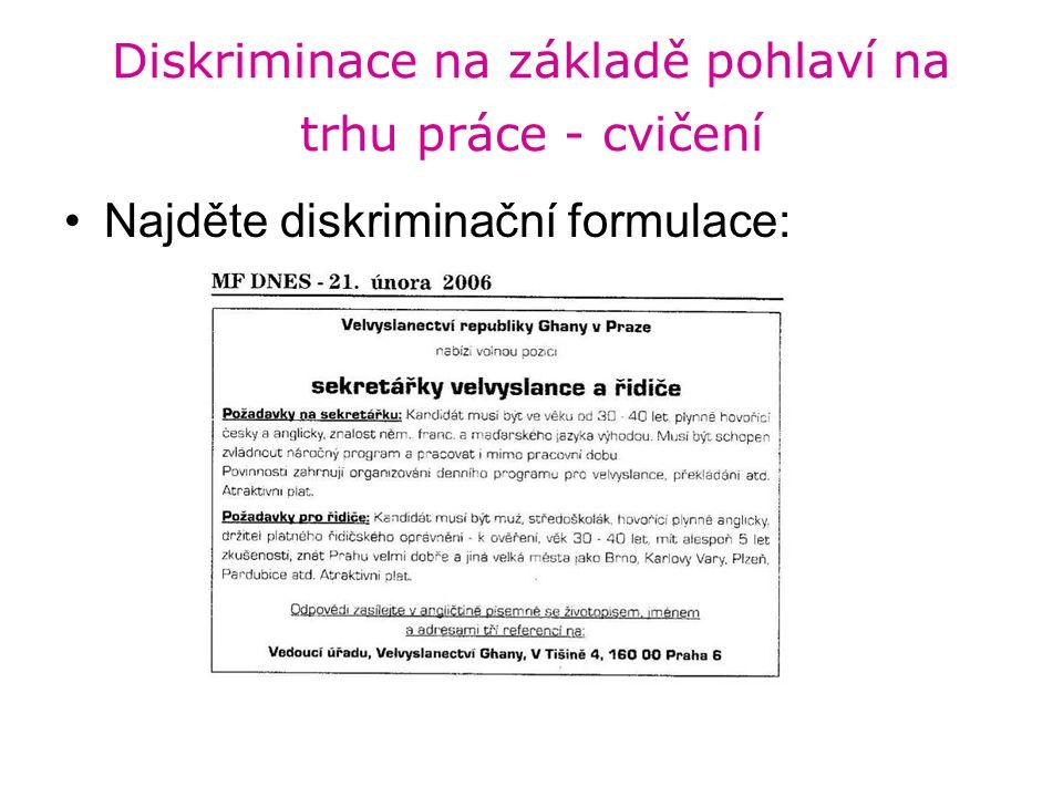 Diskriminace na základě pohlaví na trhu práce - cvičení Najděte diskriminační formulace: