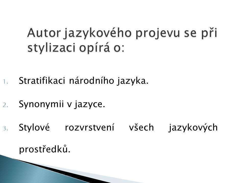 Autor jazykového projevu se při stylizaci opírá o: 1. Stratifikaci národního jazyka. 2. Synonymii v jazyce. 3. Stylové rozvrstvení všech jazykových pr