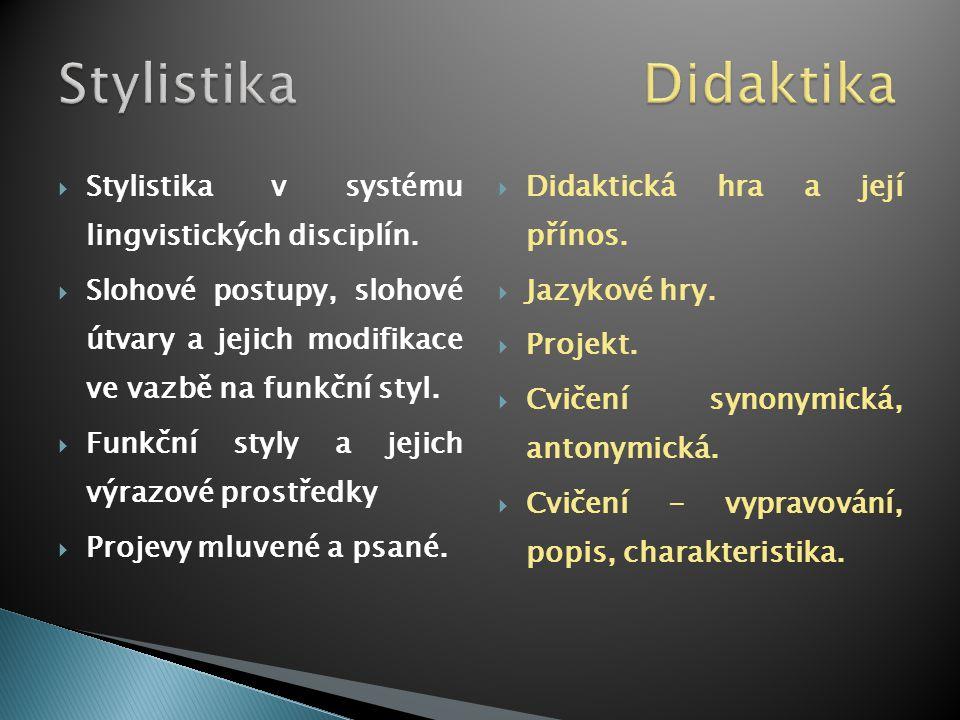  Stylistika v systému lingvistických disciplín.  Slohové postupy, slohové útvary a jejich modifikace ve vazbě na funkční styl.  Funkční styly a jej