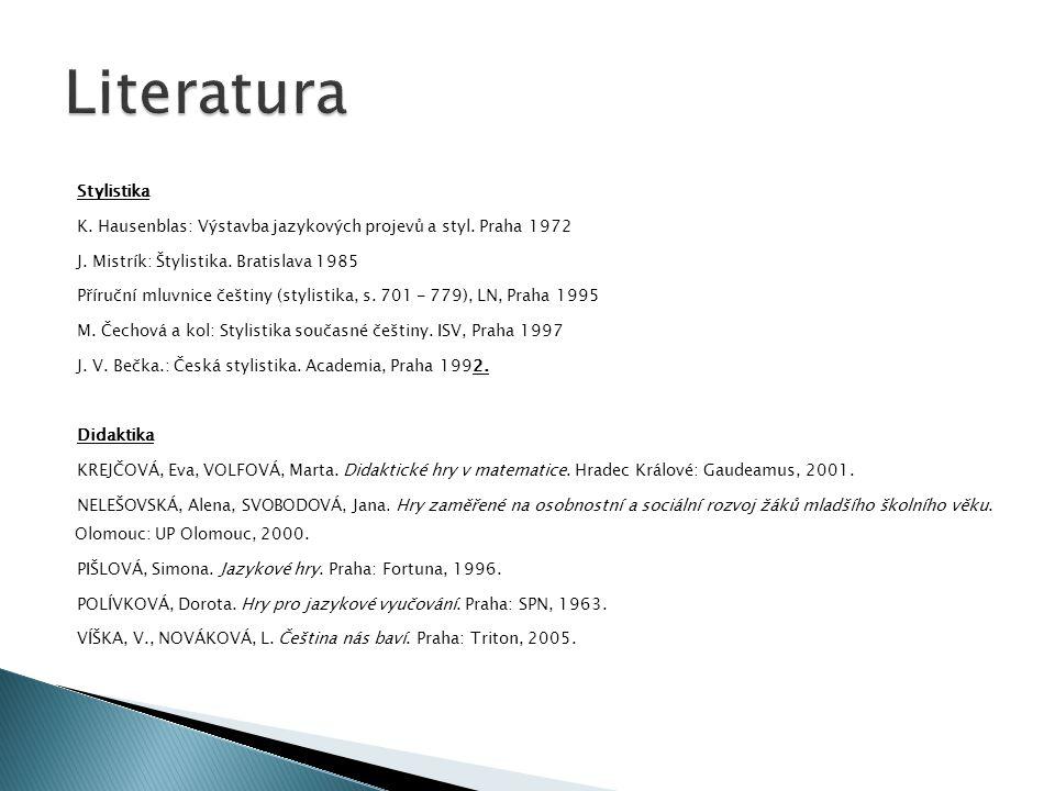 Stylistika K. Hausenblas: Výstavba jazykových projevů a styl. Praha 1972 J. Mistrík: Štylistika. Bratislava 1985 Příruční mluvnice češtiny (stylistika