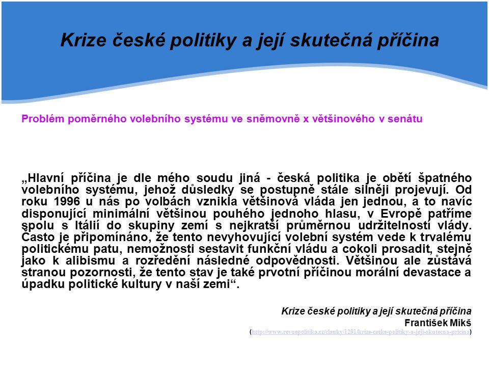 """Krize české politiky a její skutečná příčina Problém poměrného volebního systému ve sněmovně x většinového v senátu """"Hlavní příčina je dle mého soudu"""