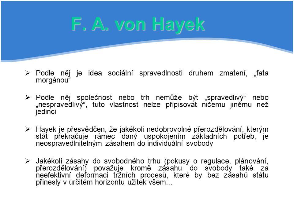 """F. A. von Hayek  Podle něj je idea sociální spravedlnosti druhem zmatení, """"fata morgánou""""  Podle něj společnost nebo trh nemůže být """"spravedlivý"""" ne"""