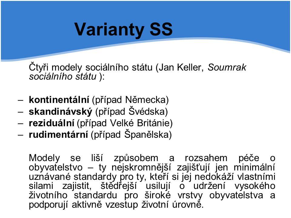 Varianty SS Čtyři modely sociálního státu (Jan Keller, Soumrak sociálního státu ): – kontinentální (případ Německa) – skandinávský (případ Švédska) –
