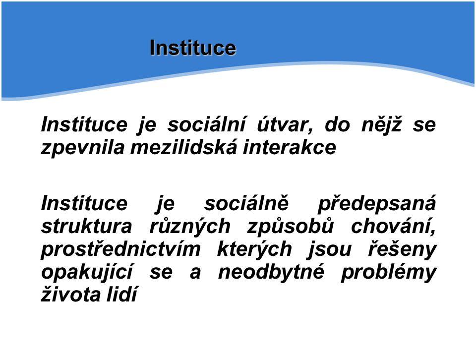 Instituce Instituce je sociální útvar, do nějž se zpevnila mezilidská interakce Instituce je sociálně předepsaná struktura různých způsobů chování, pr