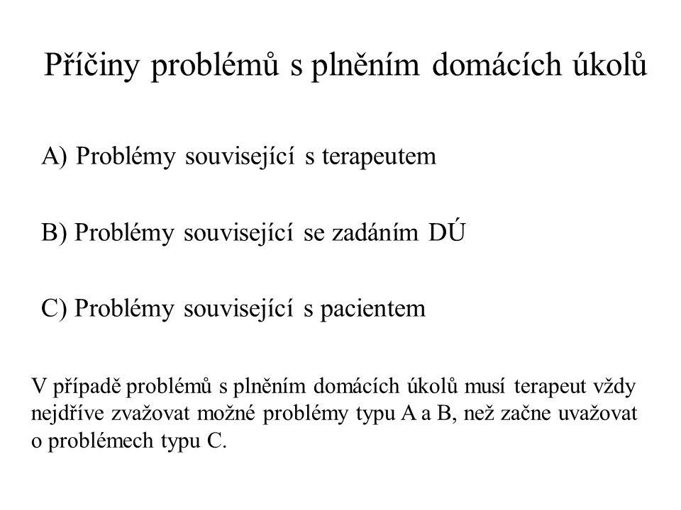 Příčiny problémů s plněním domácích úkolů A) Problémy související s terapeutem B) Problémy související se zadáním DÚ C) Problémy související s pacient