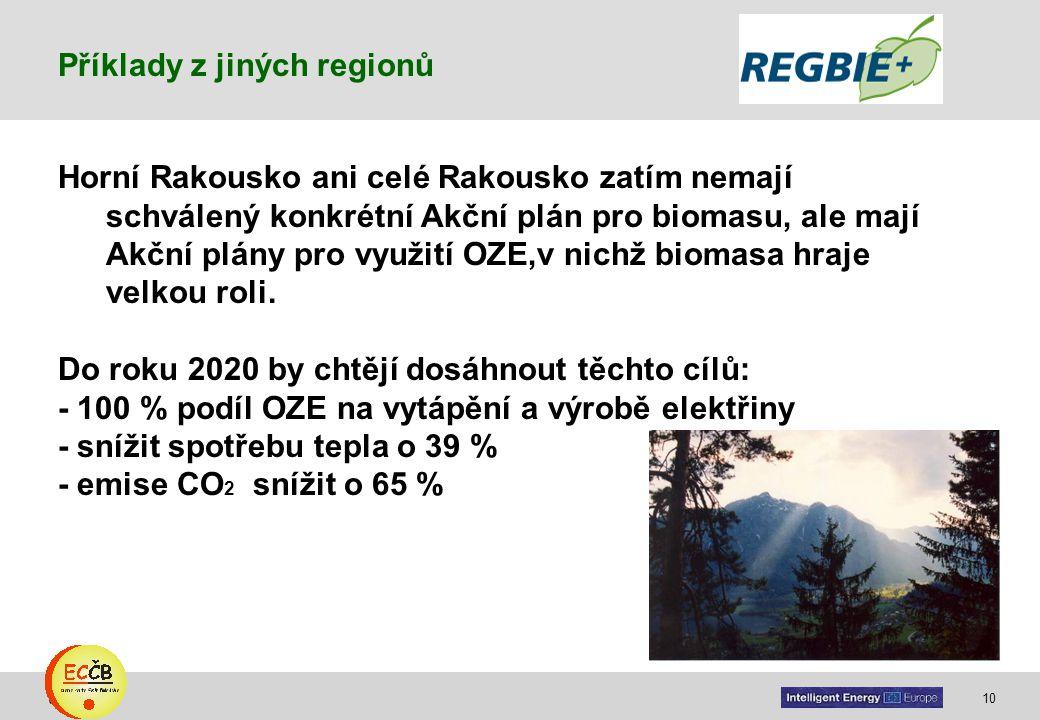 10 target Horní Rakousko ani celé Rakousko zatím nemají schválený konkrétní Akční plán pro biomasu, ale mají Akční plány pro využití OZE,v nichž bioma