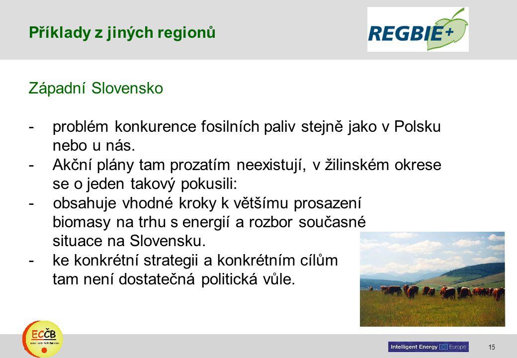 15 target Západní Slovensko -problém konkurence fosilních paliv stejně jako v Polsku nebo u nás. -Akční plány tam prozatím neexistují, v žilinském okr