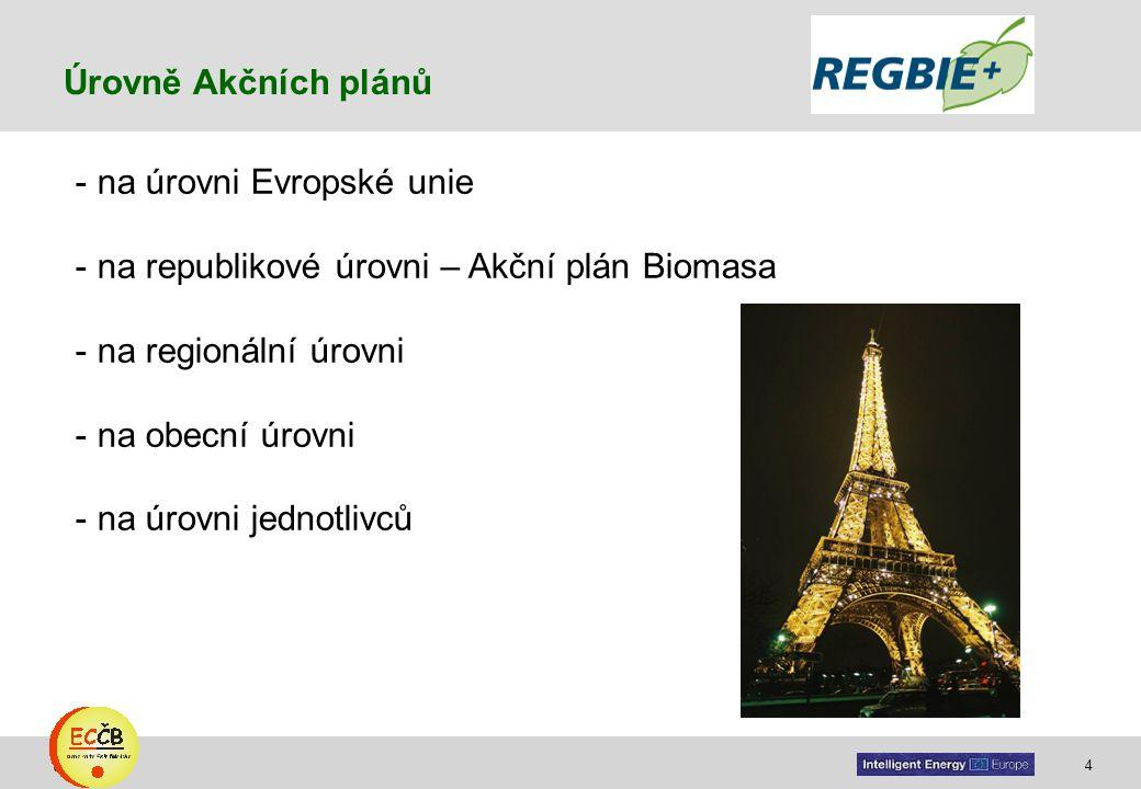 4 target Úrovně Akčních plánů - na úrovni Evropské unie - na republikové úrovni – Akční plán Biomasa - na regionální úrovni - na obecní úrovni - na úr