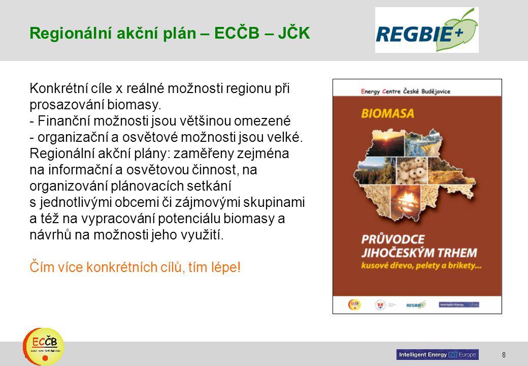 8 target Konkrétní cíle x reálné možnosti regionu při prosazování biomasy. - Finanční možnosti jsou většinou omezené - organizační a osvětové možnosti