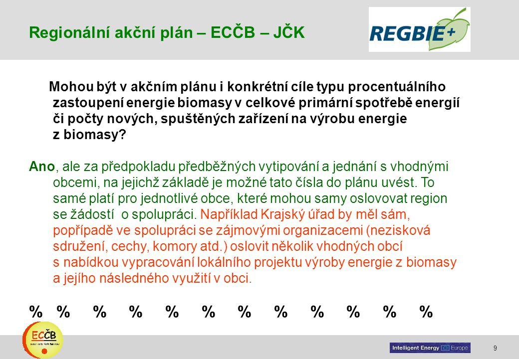 9 target Mohou být v akčním plánu i konkrétní cíle typu procentuálního zastoupení energie biomasy v celkové primární spotřebě energií či počty nových,