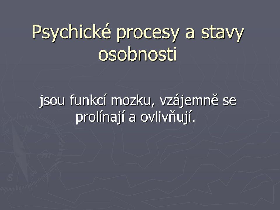 Psychické procesy a stavy osobnosti jsou funkcí mozku, vzájemně se prolínají a ovlivňují.