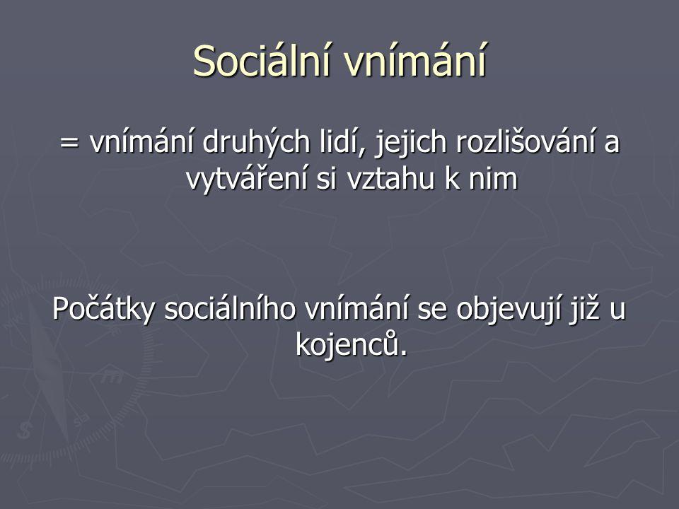 Sociální vnímání = vnímání druhých lidí, jejich rozlišování a vytváření si vztahu k nim Počátky sociálního vnímání se objevují již u kojenců.