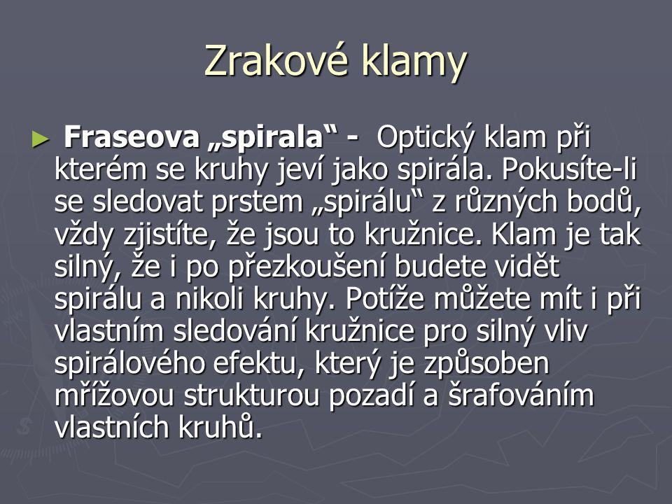 """Zrakové klamy ► Fraseova """"spirala - Optický klam při kterém se kruhy jeví jako spirála."""