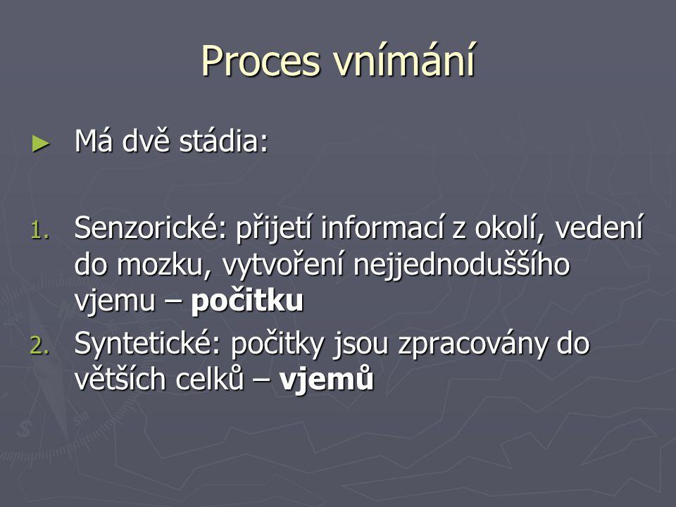 Proces vnímání ► Má dvě stádia: 1.