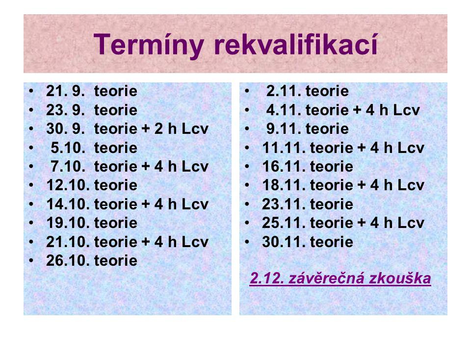 Termíny rekvalifikací 21. 9. teorie 23. 9. teorie 30. 9. teorie + 2 h Lcv 5.10. teorie 7.10. teorie + 4 h Lcv 12.10. teorie 14.10. teorie + 4 h Lcv 19