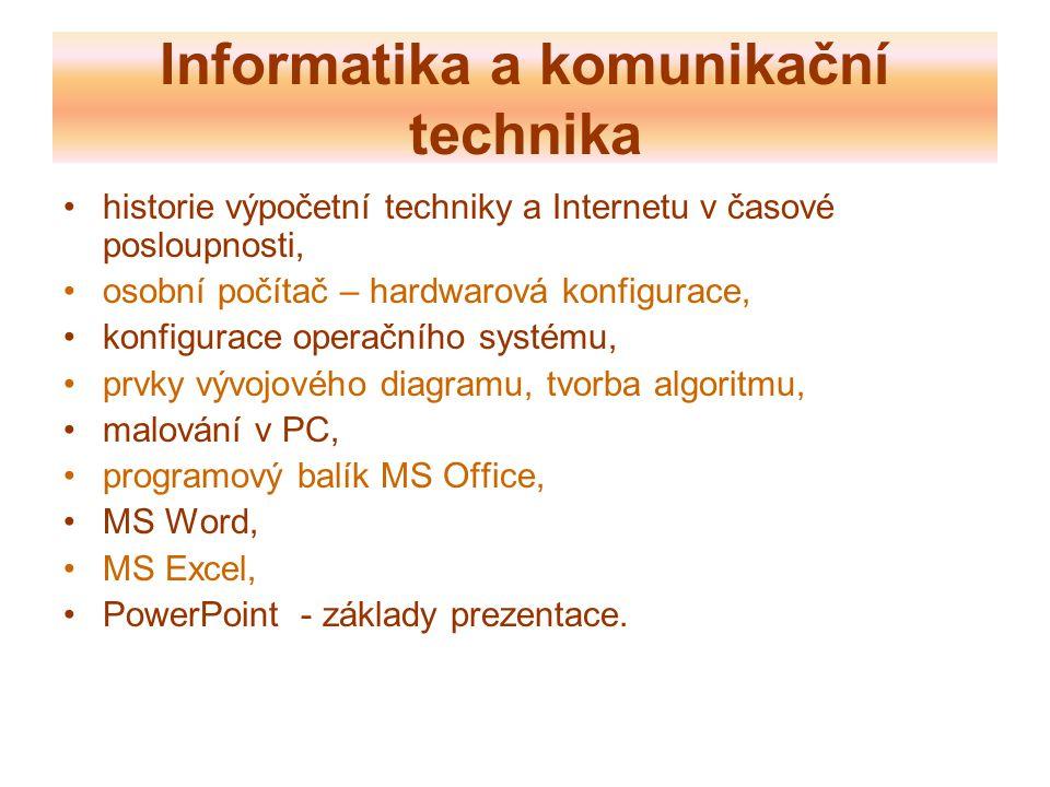 Informatika a komunikační technika historie výpočetní techniky a Internetu v časové posloupnosti, osobní počítač – hardwarová konfigurace, konfigurace operačního systému, prvky vývojového diagramu, tvorba algoritmu, malování v PC, programový balík MS Office, MS Word, MS Excel, PowerPoint - základy prezentace.
