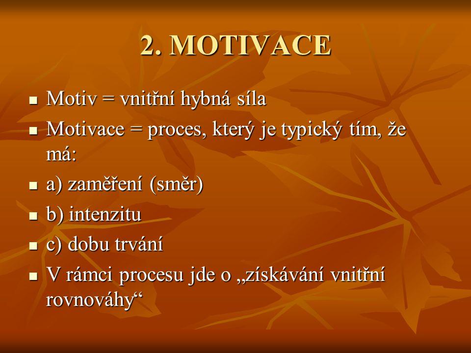 2. MOTIVACE Motiv = vnitřní hybná síla Motiv = vnitřní hybná síla Motivace = proces, který je typický tím, že má: Motivace = proces, který je typický