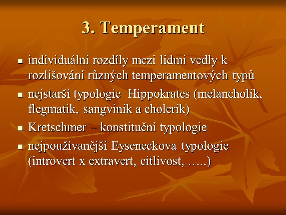 3. Temperament individuální rozdíly mezi lidmi vedly k rozlišování různých temperamentových typů individuální rozdíly mezi lidmi vedly k rozlišování r