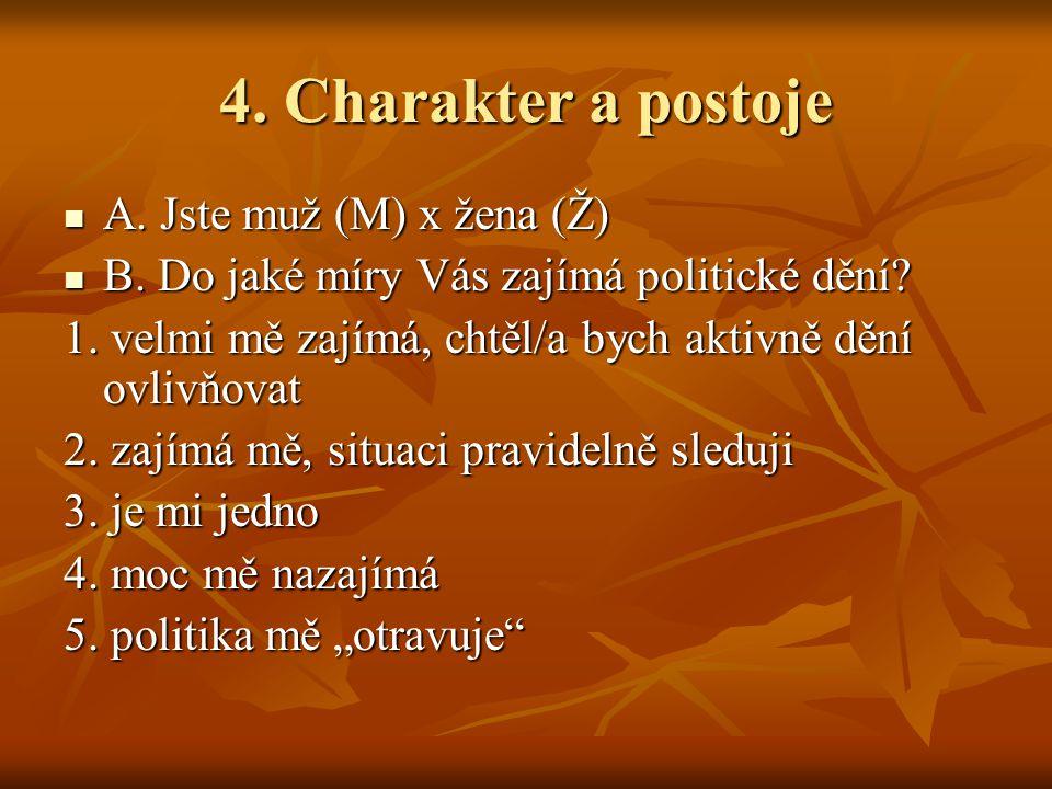 4. Charakter a postoje A. Jste muž (M) x žena (Ž) A. Jste muž (M) x žena (Ž) B. Do jaké míry Vás zajímá politické dění? B. Do jaké míry Vás zajímá pol