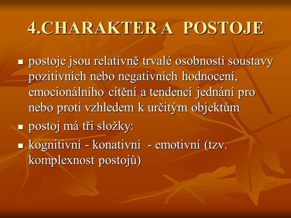 4.CHARAKTER A POSTOJE postoje jsou relativně trvalé osobností soustavy pozitivních nebo negativních hodnocení, emocionálního cítění a tendencí jednání pro nebo proti vzhledem k určitým objektům postoje jsou relativně trvalé osobností soustavy pozitivních nebo negativních hodnocení, emocionálního cítění a tendencí jednání pro nebo proti vzhledem k určitým objektům postoj má tři složky: postoj má tři složky: kognitivní - konativní - emotivní (tzv.